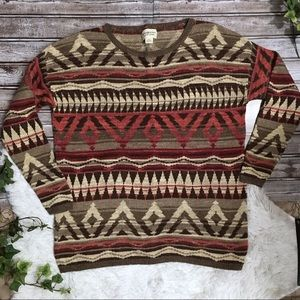 DENIM & SUPPLY RALPH LAUREN Tribal Print Sweater L
